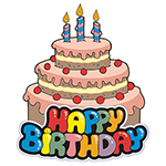 Happy Birthday With Cake Chat Sticker Facebook Emoticons